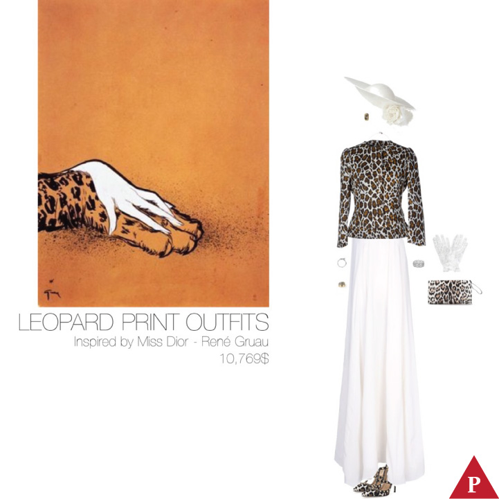 10769$ Leopard Print #MostExpensiveOutfit Inspired by Miss Dior- 1949 by René Gruau