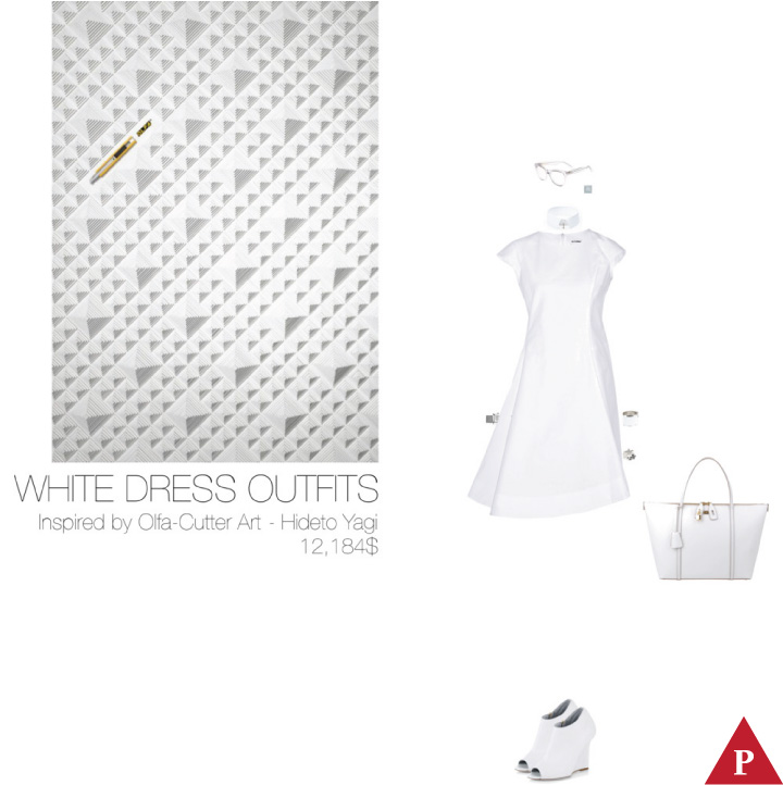 12184$ White Dress #MostExpensiveOutfit Inspired by Olfa-Cutter Art- 2009 Hideto Yagi