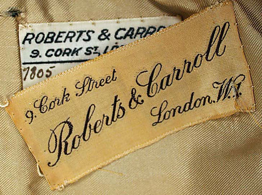 Riding habit, 1930 by Roberts & Carroll, London-1978.358.1a_label