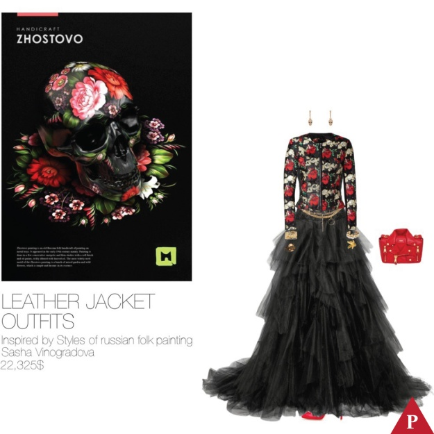22,325$ Leather Jacket #MostExpensiveOutfit Inspired by Styles of russian folk painting, 2013 Sasha Vinogradova