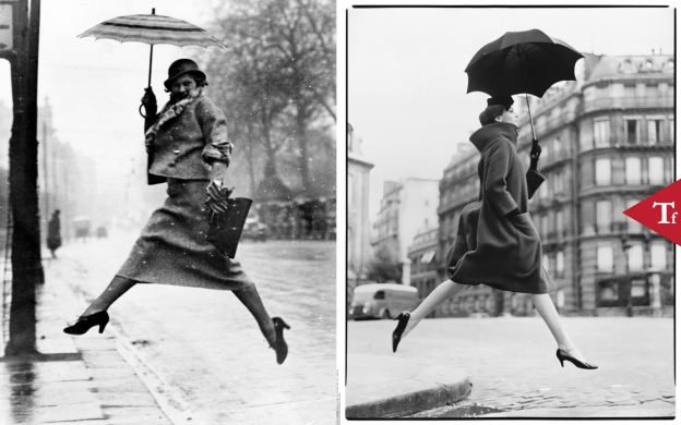 #ThrowbackFashion Carmen (Homage to Munkacsi), coat by Cardin, Place Francois-Premier, Paris by Richard Avedon. Published in American Harper's Bazaar, September 1957