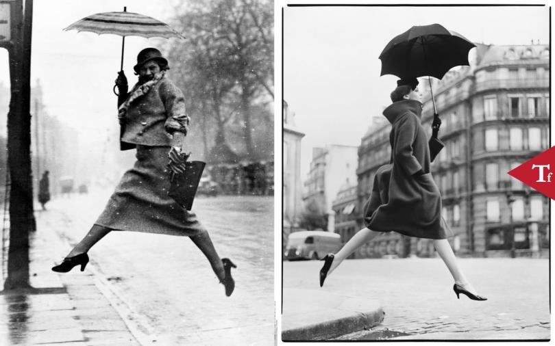 #ThrowbackFashion Carmen (Homage to Munkacsi), coat by Cardin, Place Francois-Premier, Paris by Richard Avedon. Published in American Harper's Bazaar, September 1957