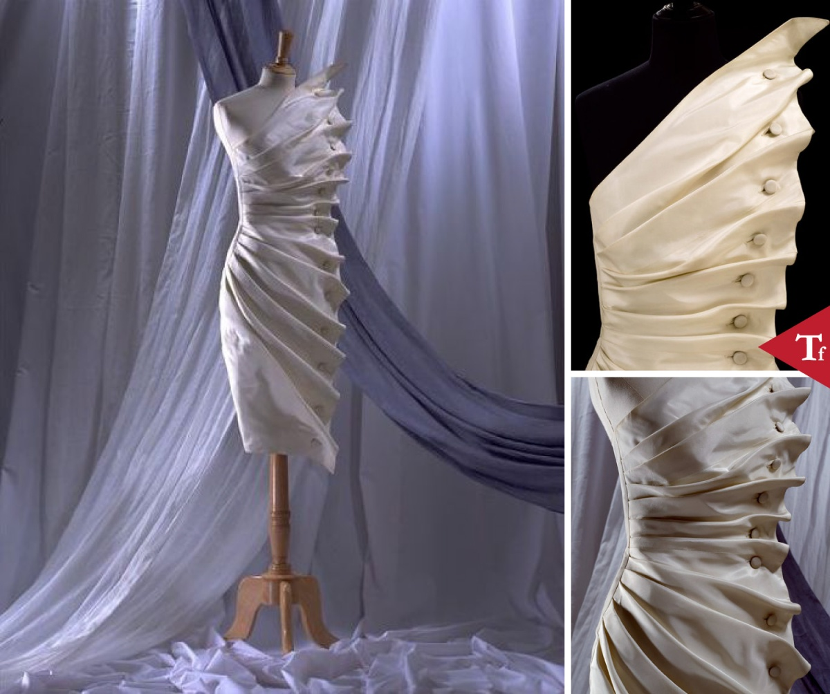 #ThrowbackFashion Evening dress 'Bird's Wing' of white silk taffeta, designed by Antony Price, England, 1986