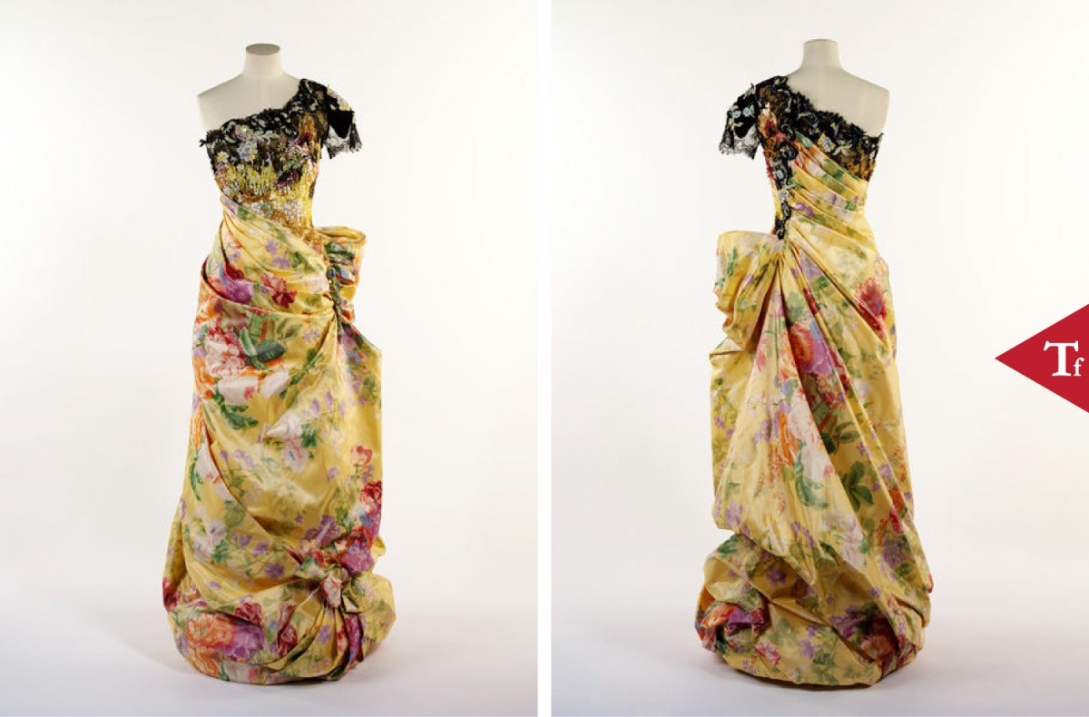#ThrowbackFashion Evening dress in chiné-printed and embroidered silk taffeta and lace, and machine-lace sleeve, designed by Christian Lacroix @Maison_Lacroix, Paris 1996