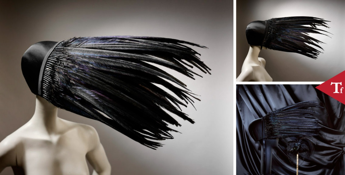 #ThrowbackFashion Kiss of death, black satin bonnet with pheasant feathers, designed by Jo Gordan, Britain, 1994