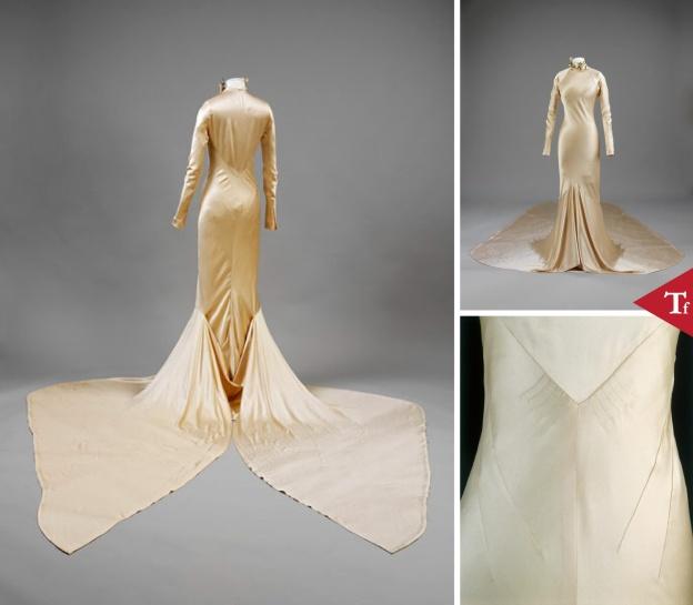 #ThrowbackFashion Wedding dress of silk satin by Charles James- England- 1934