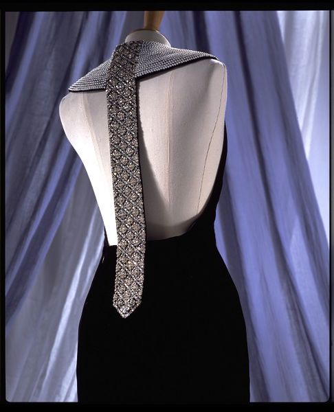 Evening dress, black silk velvet with diamante and pearl collar, by Catherine Walker, UK, 1994.-2006AU2410_jpg_l