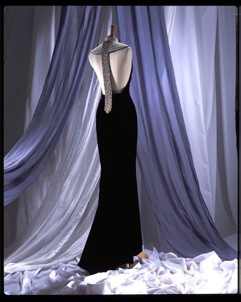 Evening dress, black silk velvet with diamante and pearl collar, by Catherine Walker, UK, 1994.-2006AU2411_jpg_l