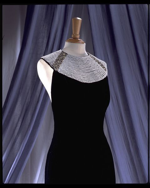 Evening dress, black silk velvet with diamante and pearl collar, by Catherine Walker, UK, 1994.-2006AU2412_jpg_l