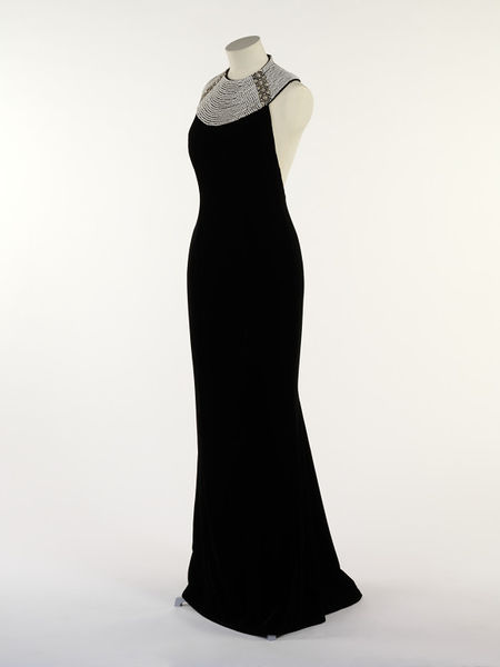 Evening dress, black silk velvet with diamante and pearl collar, by Catherine Walker, UK, 1994.-2011EN2395_jpg_l