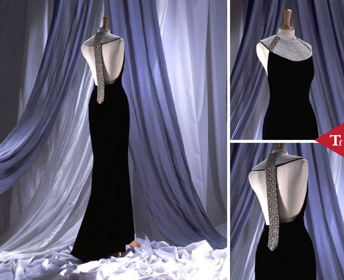 #ThrowbackFashion Evening dress, black silk velvet with diamante and pearl collar, by Catherine Walker @CatwalkerCo, UK, 1994