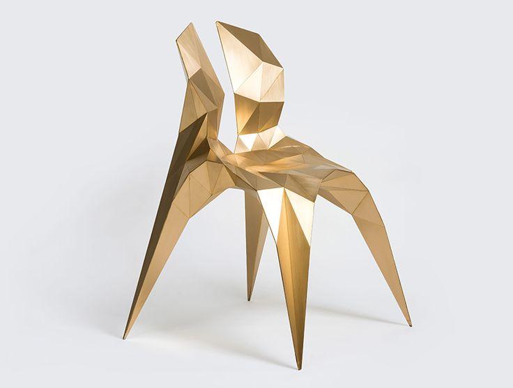 Brass Split Chair, 2014 by Zhoujie Zhang www.zhangzhoujie.com #form #material